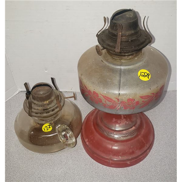 Two Glass lamps antique glass red