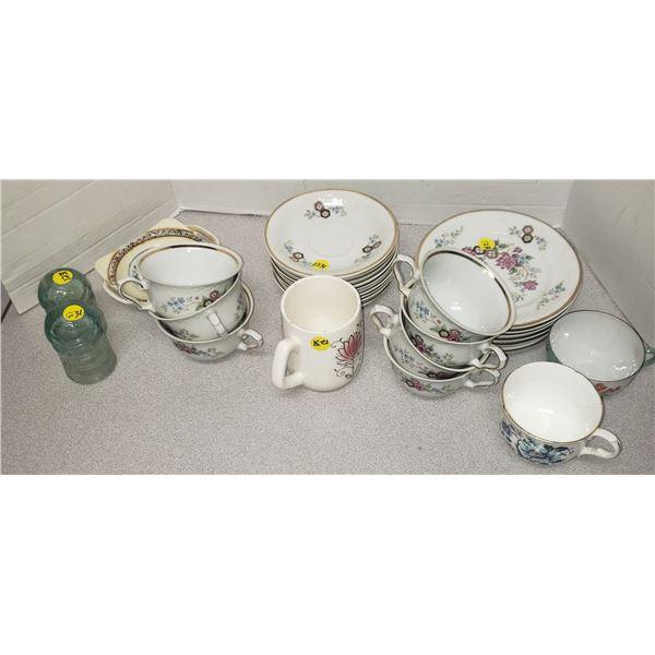 porcelain lot tea cups lot bone chine plates saucers