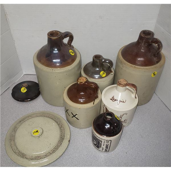 vintage jugs  clay georgia  hand painted by the Cash Erwin Texas