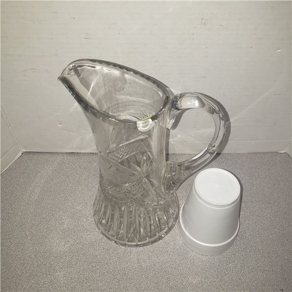 tall clear heavy glass picture jug