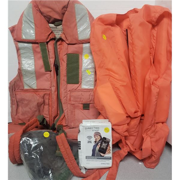 two life jacket vests command start , funnels wooden matches