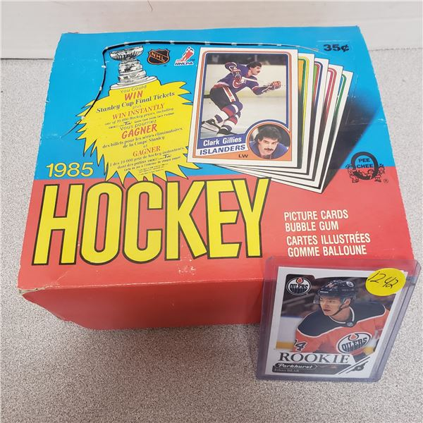 top loaded rookie hockey card and empty vintage sealed wax box 1985