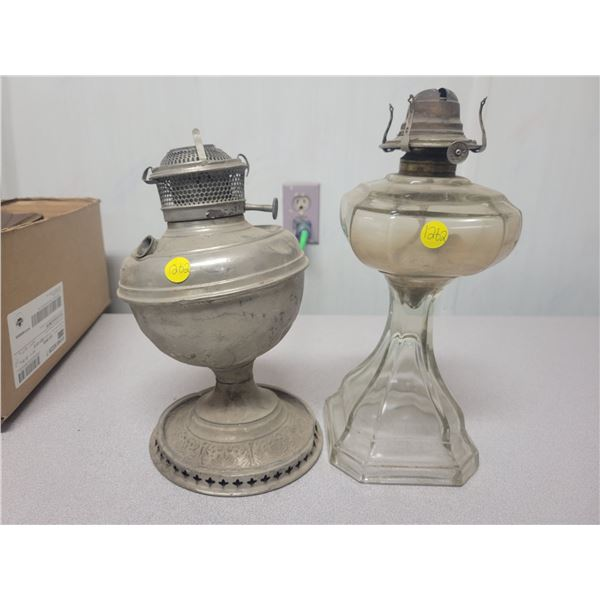 2 coal oil lamps - one White Flame light Co. Grand Rapids, Michigan