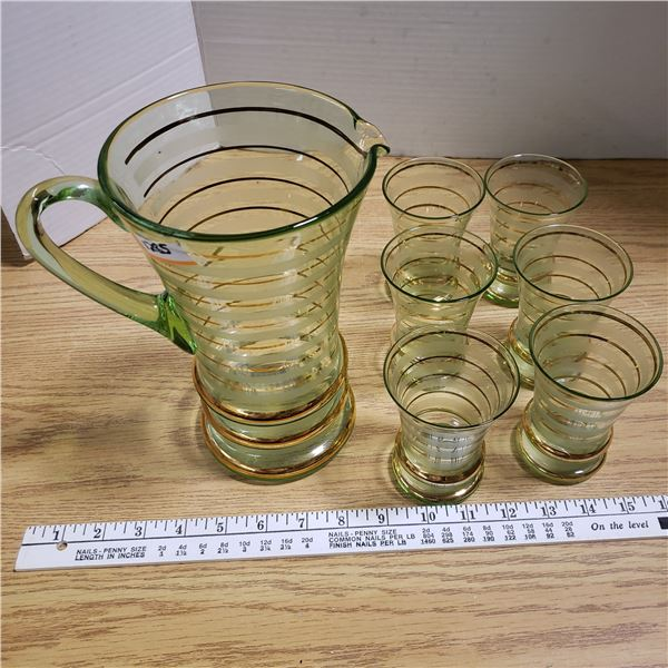 Vintage Pitcher with 6 Matching Glasses