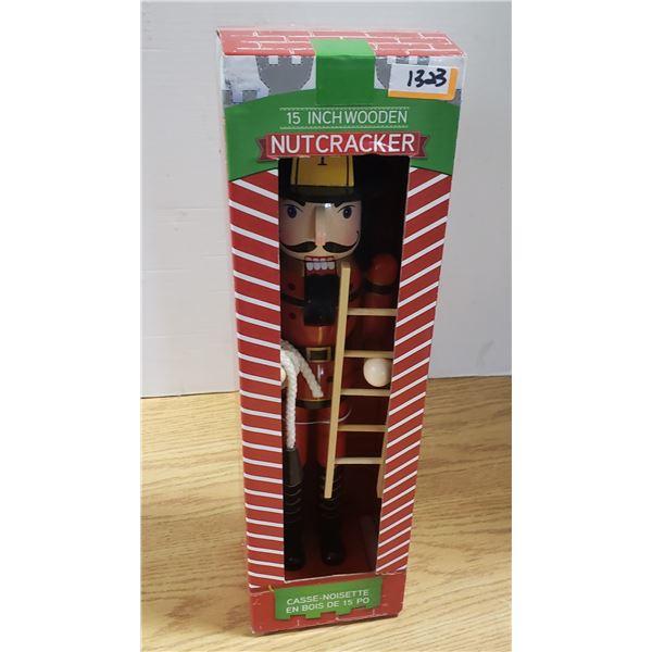 "15"" Wooden Nutcracker Fireman"