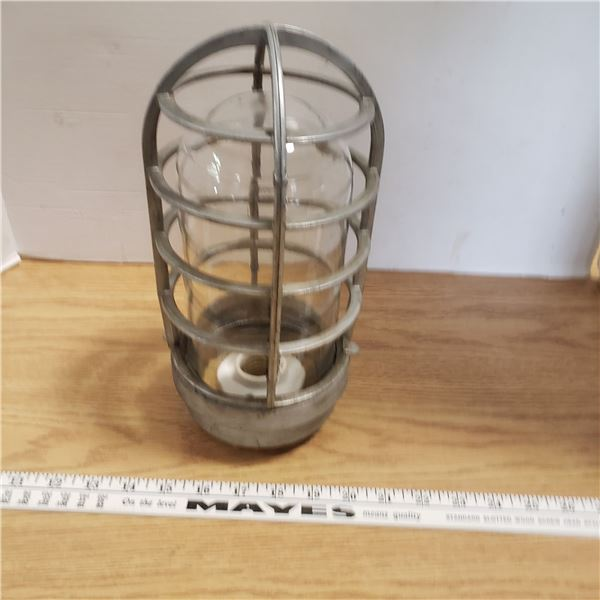 Cast Aluminum Vintage Industrial Clear Glass Cage fixture