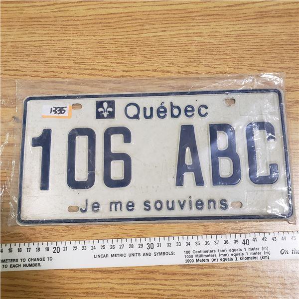 Quebec License Plate ABC