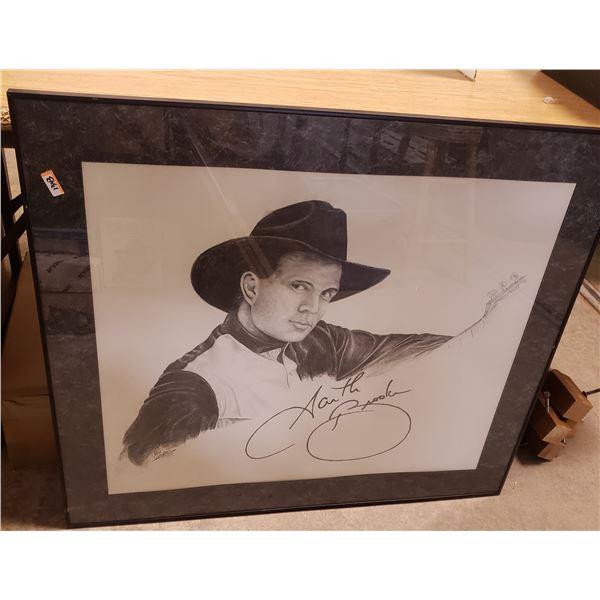 Garth Brooks Signed Pencil Drawing