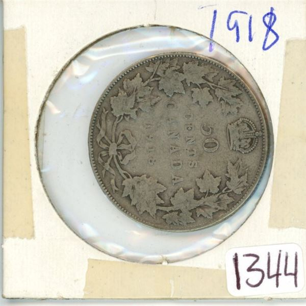 1918 Canadian 50 cent coin
