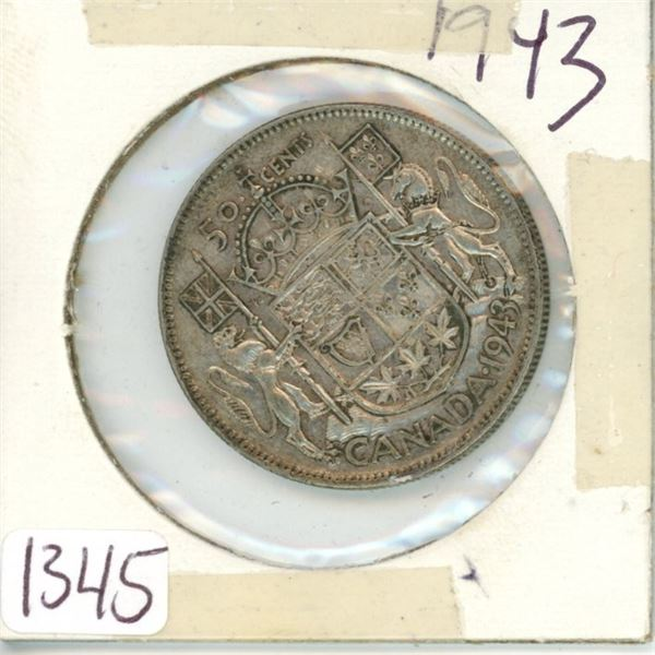 1943 Canadian 50 cent coin