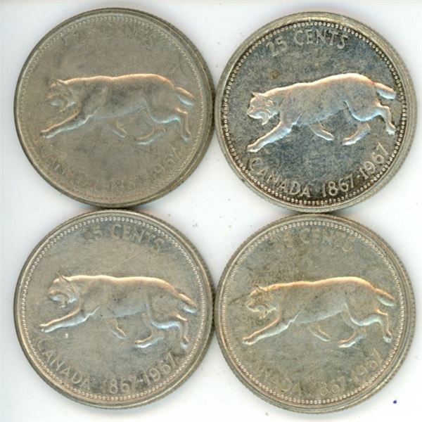 4 Silver Canadian Quarters 1967
