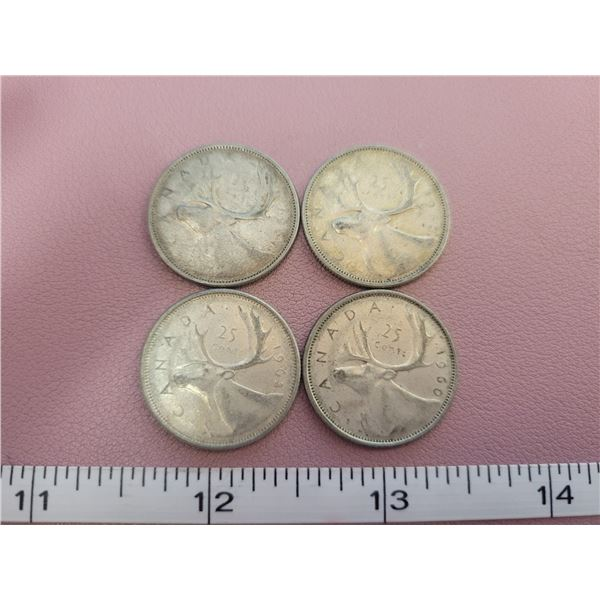 1960-61-62-63 Silver Canadian Quarters