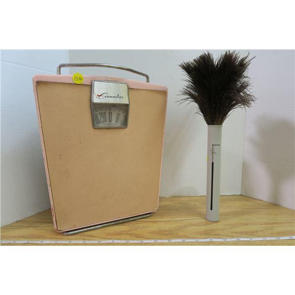 Vintage Homewares Bathroom Scale and Retractable Feather Duster