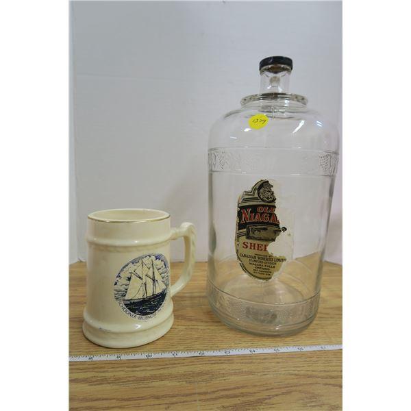 Schooner Beer Mug & Old Niagra Sherry Bottle