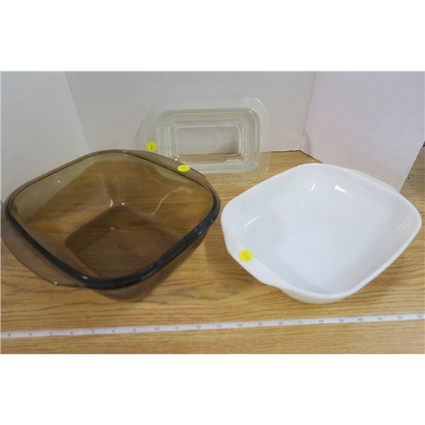 2 Pyrex Dishes & Heller Deep Glass Bakeware