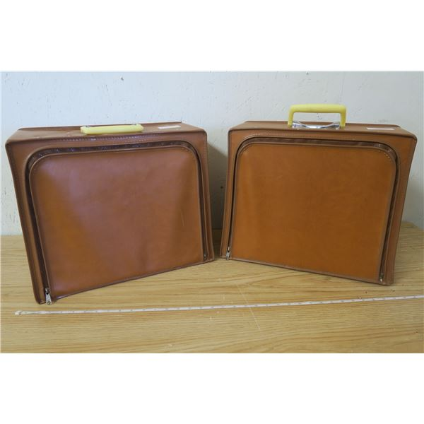 Vintage Hard Shell Luggage Set Faux Leather