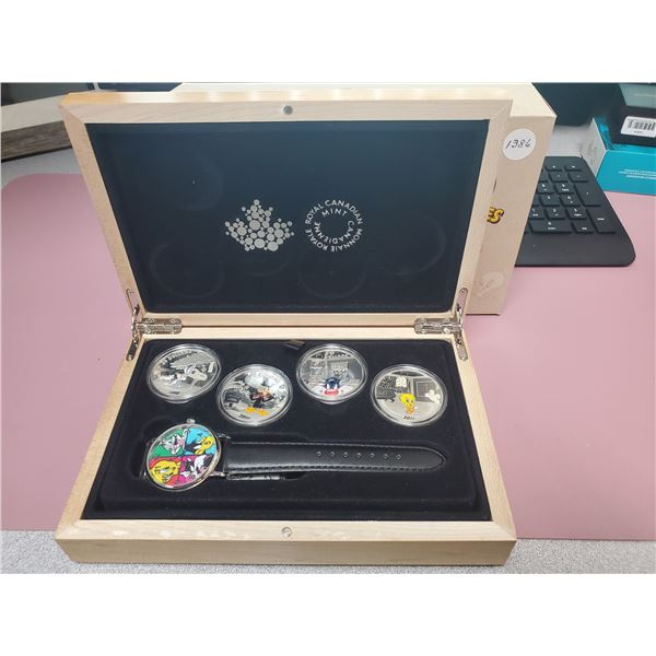 2015 - RCM - 4 x $20.00 Fine Silver Looney Tunes Set including Wrist Watch in Wooden Display Case