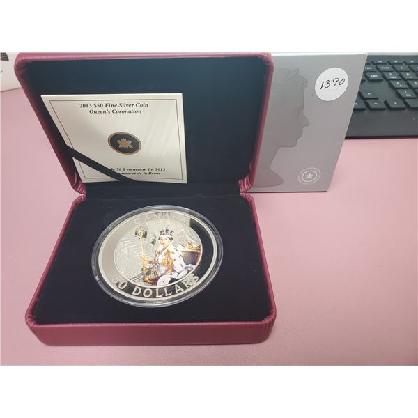 2013 - RCM - $50.00 - 5 oz Fine Silver - Beautifull large coin of 60th Anniversary of the Queen's Co