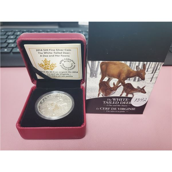 2014 - RCM - $20.00 - One oz Pure Silver White Tailed Deer - A Doe & Her Fawns