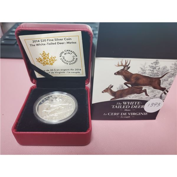 2014 - RCM - $20.00 - One oz Pure Silver -White Tailed Deer - Mates