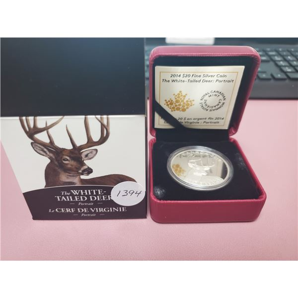 2014 - RCM - $20.00 - One oz Pure Silver -White Tailed Deer -  Portrait