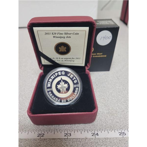 2011 - RCM - $20.00 - Fine Silver - Commemorating Return of Winnipeg Jets