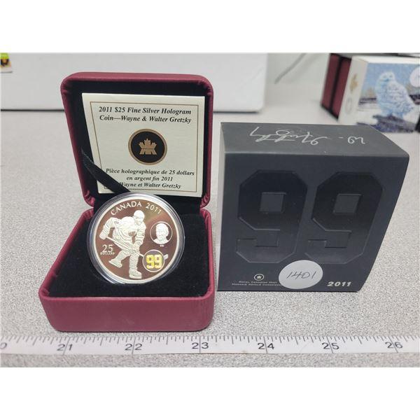 2011 - RCM - $25.00 - Fine Silver Hologram - Wayne & Walter GRETZKY