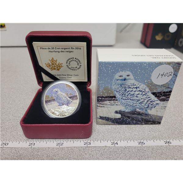 2016 - RCM - $20.00 - 31.39gm Fine silver - Colorized Snow Owl
