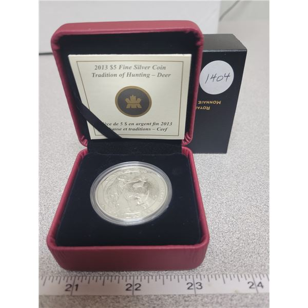 2013 - RCM - $5.00 - Fine Silver - Tradition of Hunting - DEER