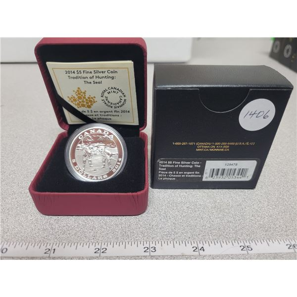 2014 - RCM - $5.00 - Fine Silver - Tradition of Hunting - THE SEAL