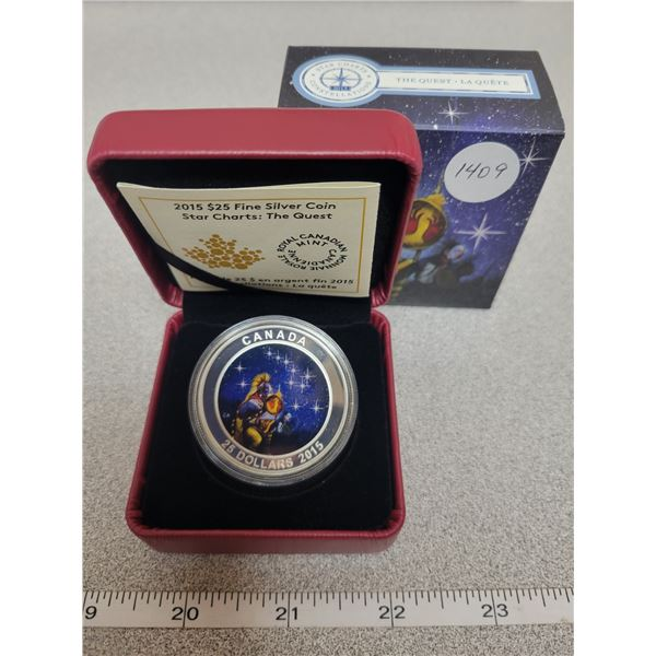 2015 - RCM - $25.00 - 31.83gm Fine Silver - STAR CHARTS - The Quest                        (Glows in
