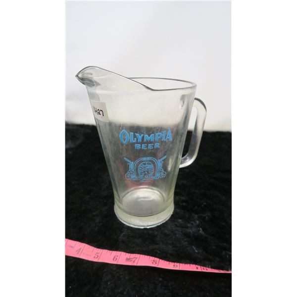VINTAGE OLYMPIA BEER GLASS PITCHER -EXCELLENT SHAPE