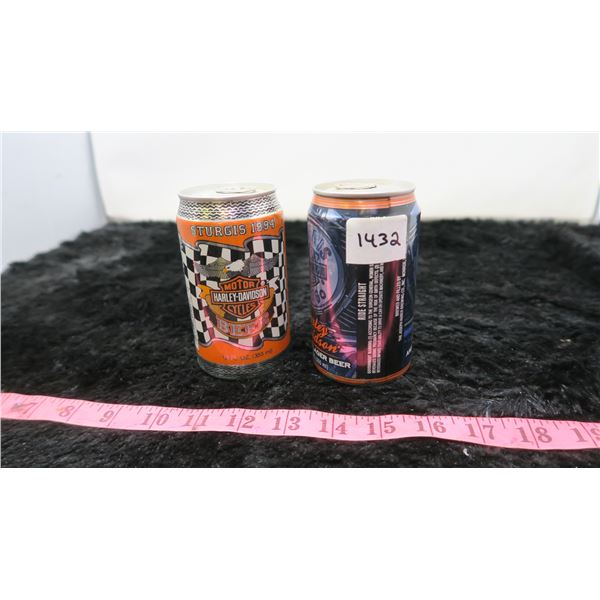 2 STURGIS HARLEY DAVIDSON BEER CANS -FULL (1994 and 1996)