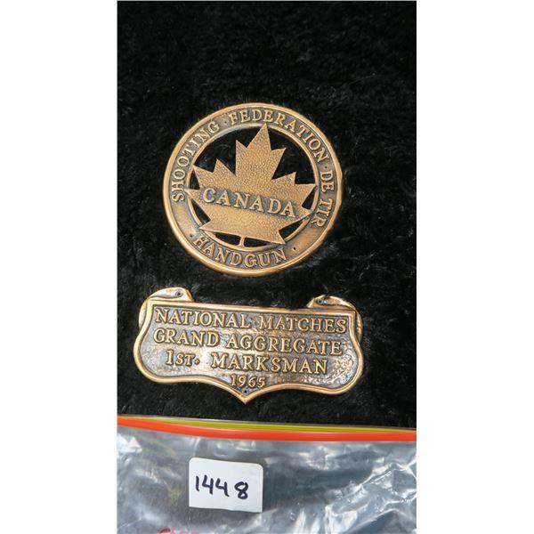 "1963 Shooting Federation Handgun Award; 1st Marksman Canada Medal Heavy 4"" round"