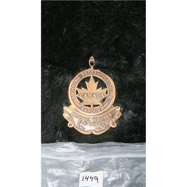 1963 Shooting Federation Handgun Award; 2nd National Matches C.F. Timed Canada Medal Heavy