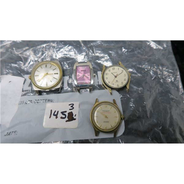 4 Watches parts, Rosemount 21 Jewels, Madison, Cardinal, Caravells