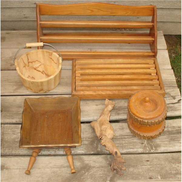 misc wood  lot, small wooden nick nacks household