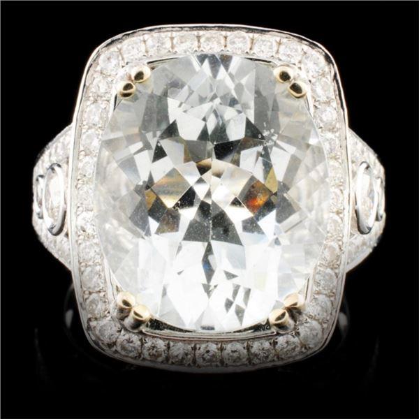 14K Gold 7.38ct Aquamarine & 1.45ctw Diamond Ring