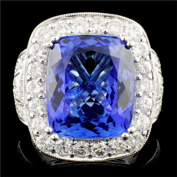 18K Gold 12.50ct Tanzanite & 2.28ctw Diamond Ring