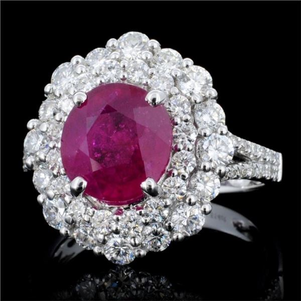 18K Gold 3.23ct Ruby & 1.51ct Diamond Ring
