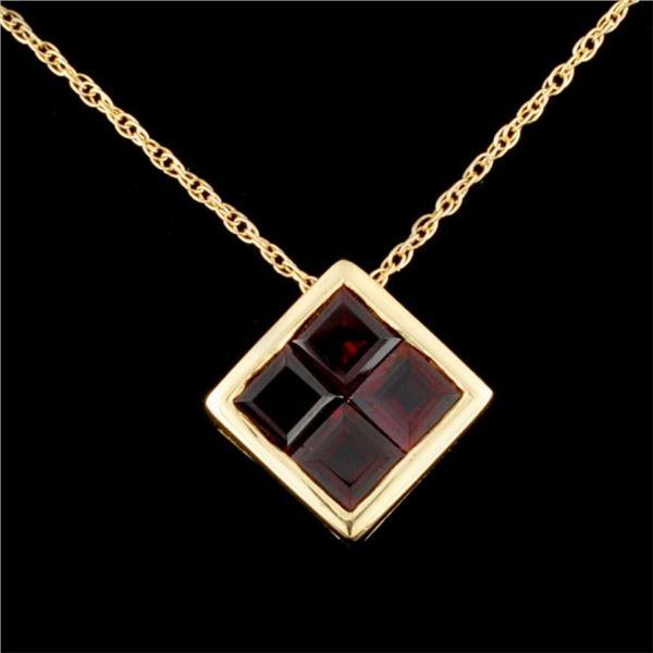 14K Gold 1.65ctw Garnet Pendant