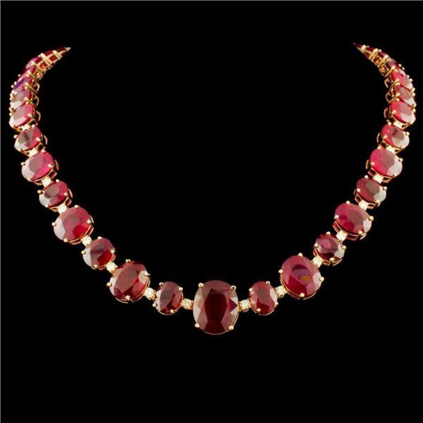 14K Gold 158.00ctw Ruby & 1.45ctw Diamond Necklace