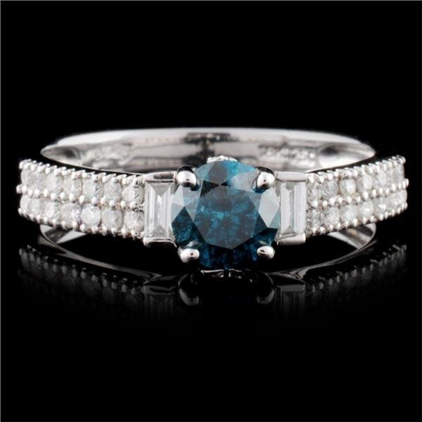 18K White Gold 0.93ctw Fancy Color Diamond Ring