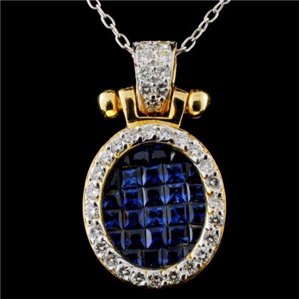 18K Gold 1.53ct Sapphire & 0.45ct Diamond Pendant