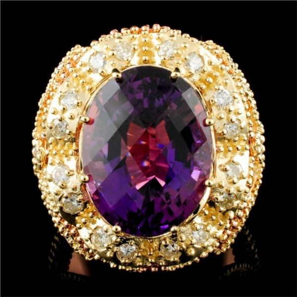 14K Gold 14.11ct Amethyst & 2.00ctw Diamond Ring