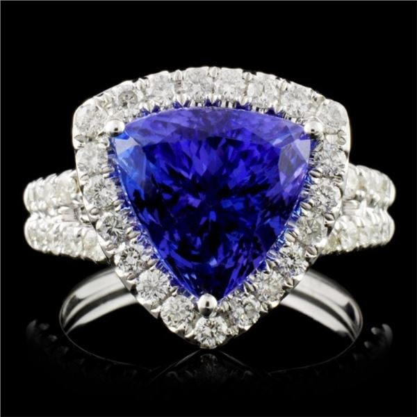 18K Gold 5.40ct Tanzanite & 1.10ct Diamond Ring