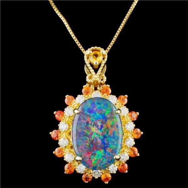 14K Gold 2.50ct Opal & 0.35ctw Diamond Pendant