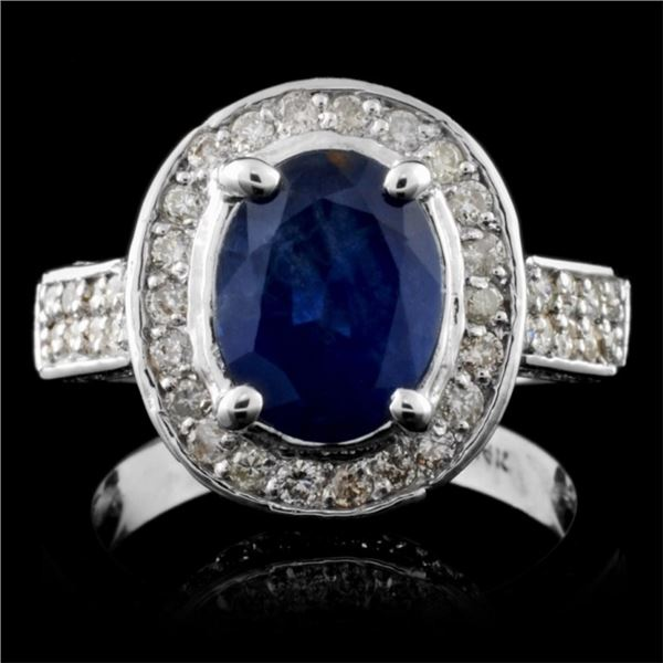 14K White Gold 2.65ct Sapphire & 1.06ct Diamond Ri