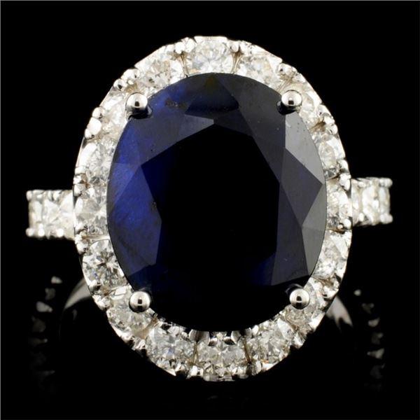14K Gold 8.00ct Sapphire & 2.00ctw Diamond Ring