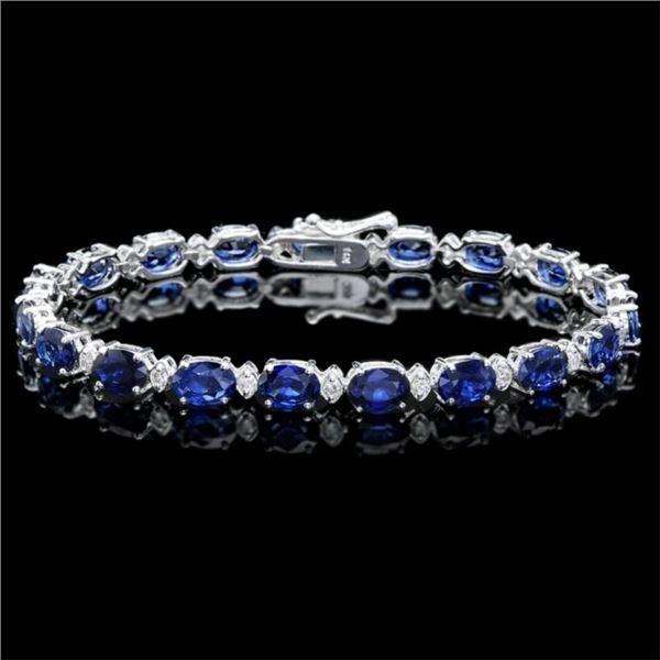 `14k Gold 15.00ct Sapphire & 0.50ct Diamond Bracel